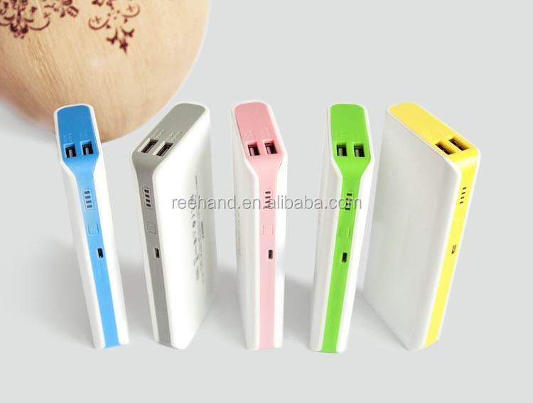 2015 New arrival 10400mah Dual USB output Power Bank with 5 pcs Li-ion battery
