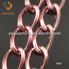 4mm pink color curb shape aluminum chain 30.6*20.2mm