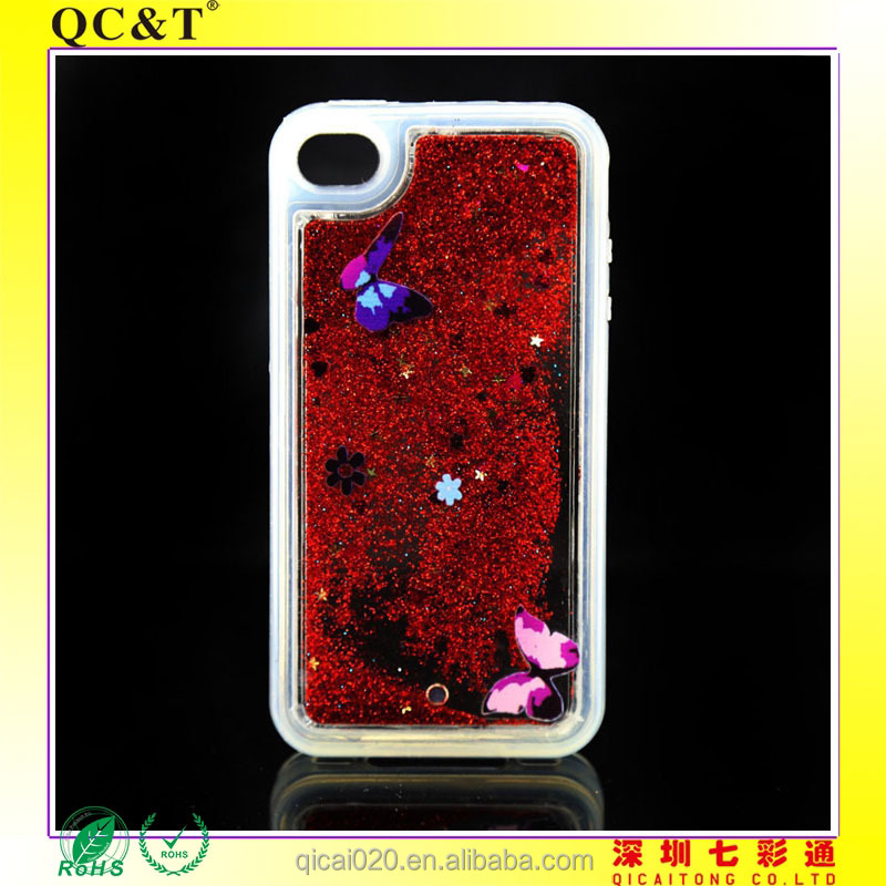 pouch case TPU+PC Case Quicksand Liquid Hard Cover Case for iphone 4g