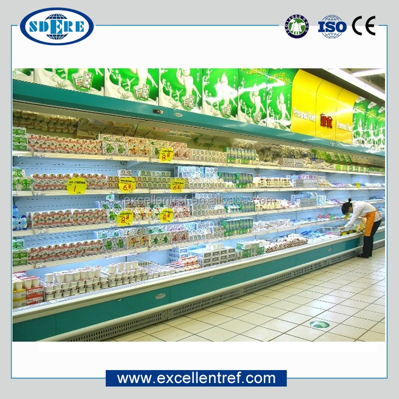 supermarket cooler showcase of wall mounted refrigerator type for dairy display