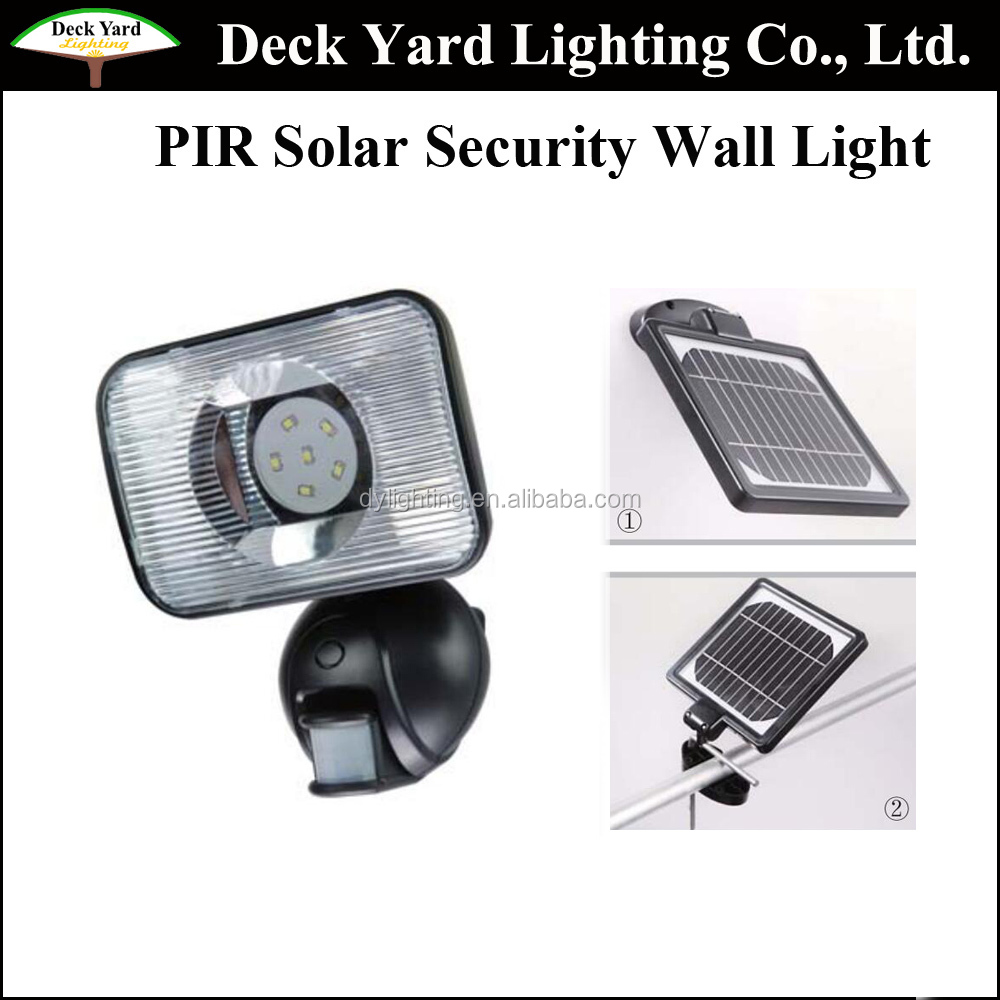 High Brightness White Color PIR Wall Light With Black Appearance Solar Motion Sensor Led Security Outdoor Wall Lights