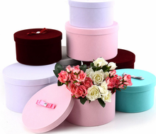 Custom round hat paper box flower luxury box printed flower box for gift