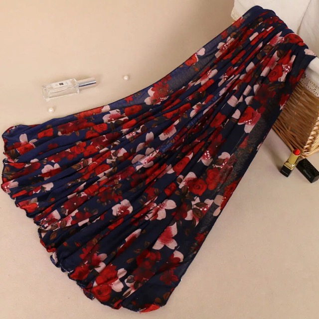 Soft Scarves Wrap Jersey Hijab Printing Flowers Print Floral Shawls For Women Girls Arab Hijab