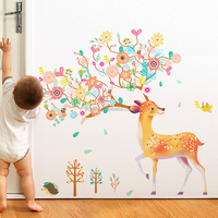 Removable PVC living room sofa decorative camouflage deer wall stickers