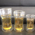 Shaped drinking glass tea cups tumbler double wall tumbler