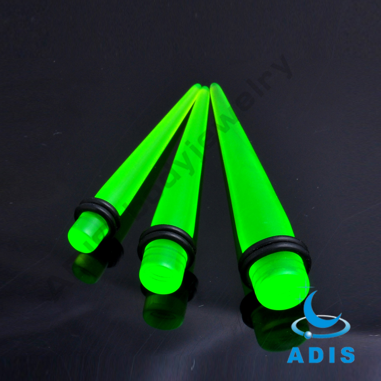 Green Acrylic Ear Tapers With Balck Leather Collar Wholesale Body Jewelry