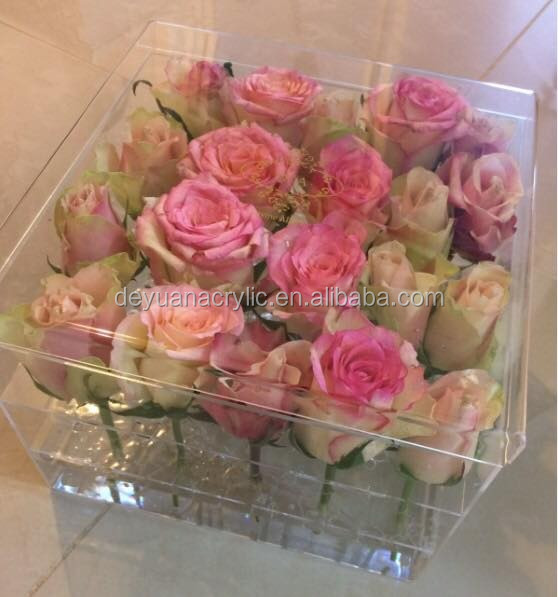 Acrylic Flower Box with Custom Logo for Fresh Flower