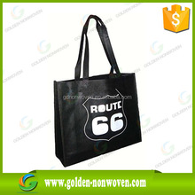 Make-to Order printed nonwoven fabric material in packing bag with logo black nonwoven/non woven tote bag wholesale