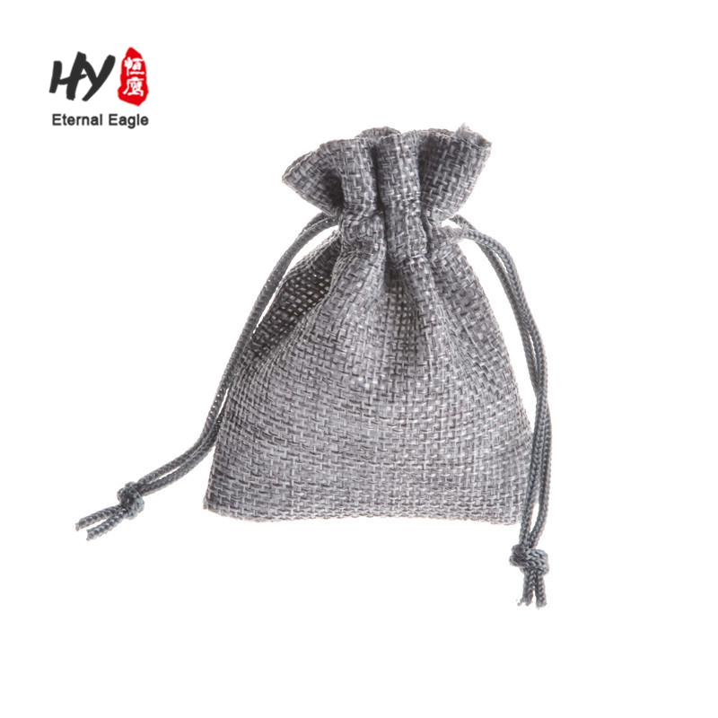 New style natural linen small jute drawstring pouch