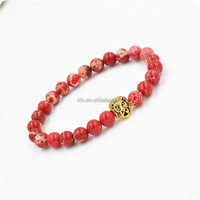 Fashion Simple Lion Red Howlite Beaded