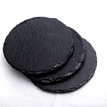 Round Shape Black Slate Coasters