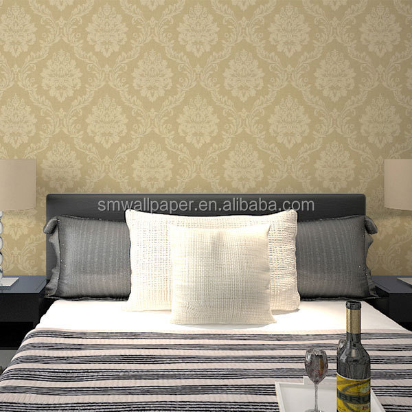 luxury damask design non-woven wallcoverings fabric wallpapers for sale