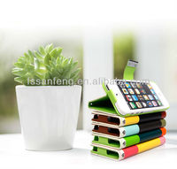 Cute triple color cell phone case/credit card wallet leather case for iphone4/durable holster for iphone4 leather case