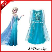 Free Shipping Frozen Elsa Dress Cosplay Princess Dress Elsa Dress Party Costumes from Size S to Plus Size 4XL Christmas Gift
