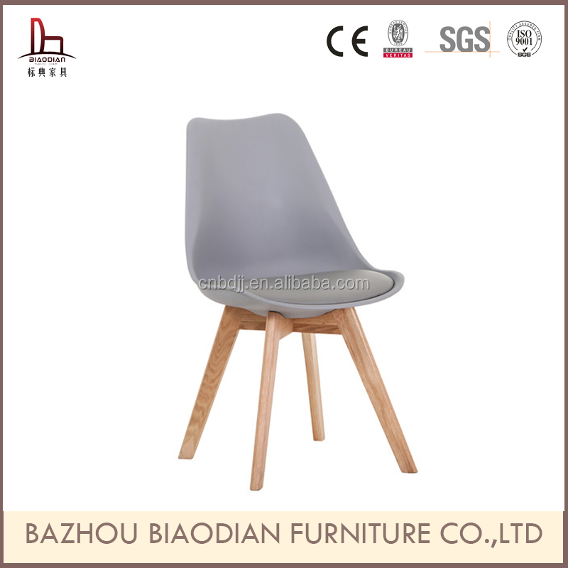 French style solid Oak&beech wooden legs comfortable colorful soft pu cushion chair, designer chair replica