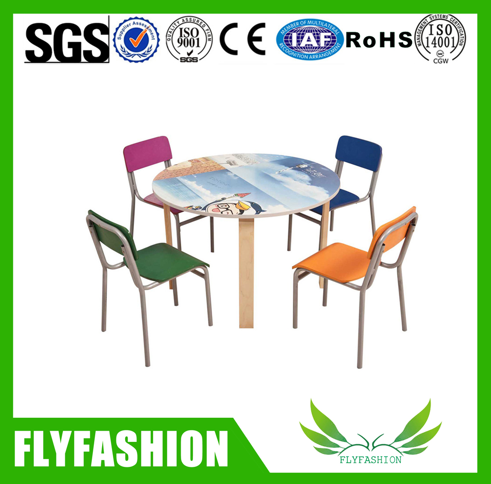 SF-43C Preschool kids square shape wood table chair used daycare furniture sale kids furniture