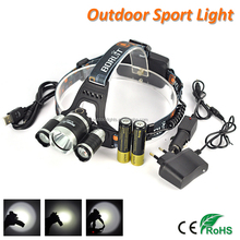 2017 New Boruit RJ-3000 4000 Lumens XM-L L2 + R5 LED Rechargeable Head Lamp High Power Headlamp