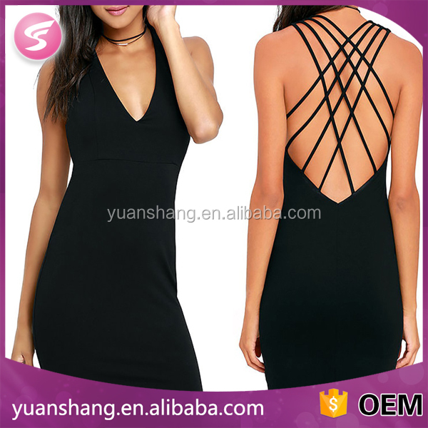 High Quality Woman Sexy Open Back Bodycon Backless Mini Drese