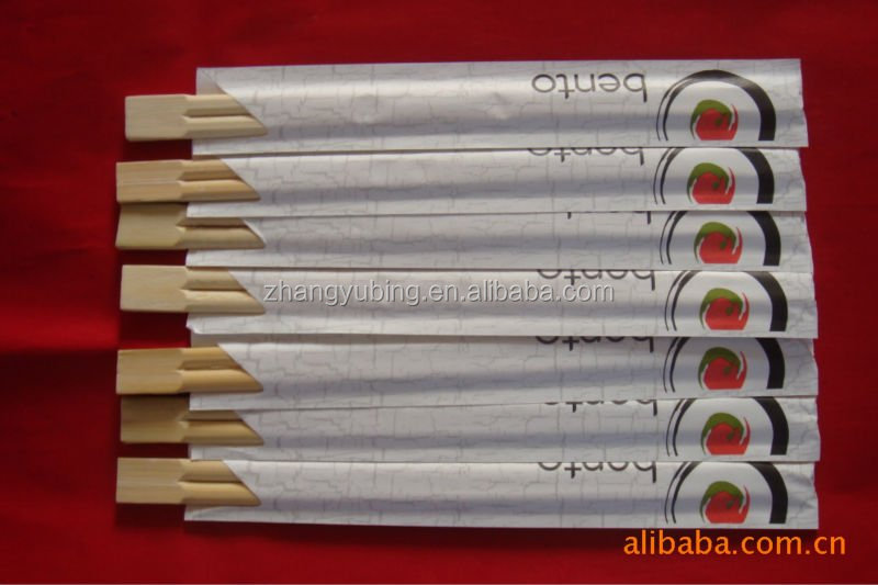 full paper wrapped disposable sushi bamboo chopsticks with PE/OPP pakage