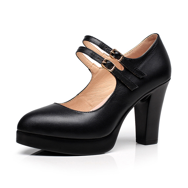 Women's Chunky <strong>Heels</strong> Pump Office & Career Shoes Fashionable High <strong>Heel</strong> Black Genuine Leather Pump High <strong>Heels</strong> Shoes Small Size