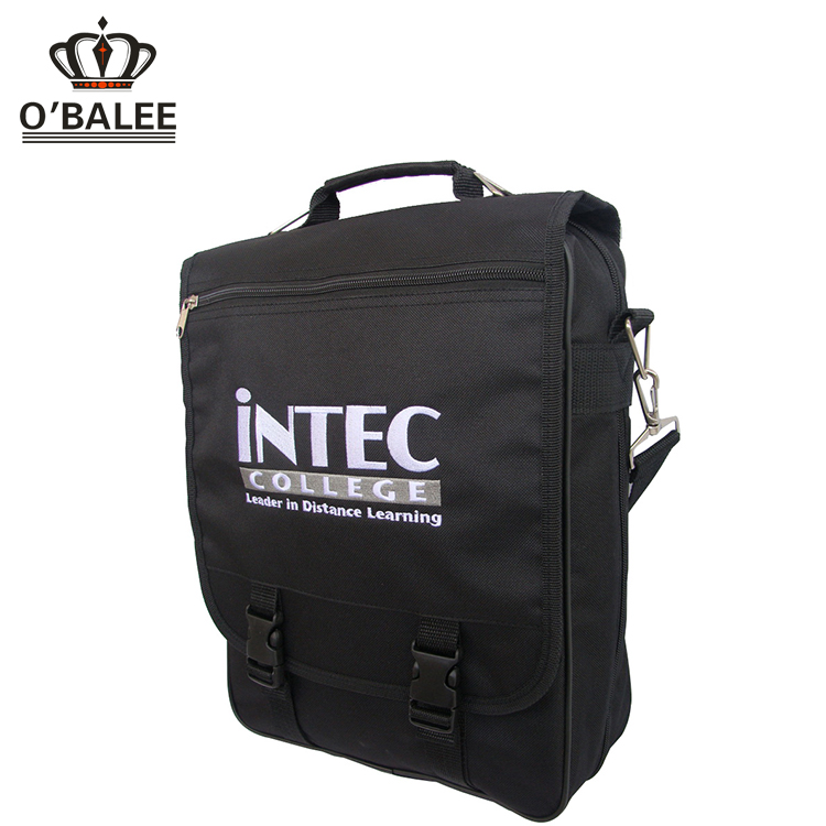 2017 most popular extensible black 600D polyester conference bag with pocket