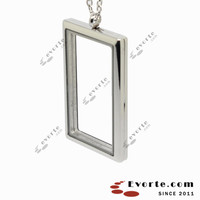 L1671 Stainless Steel Magnetic Plain Rectangle Floating Locket with clear glass