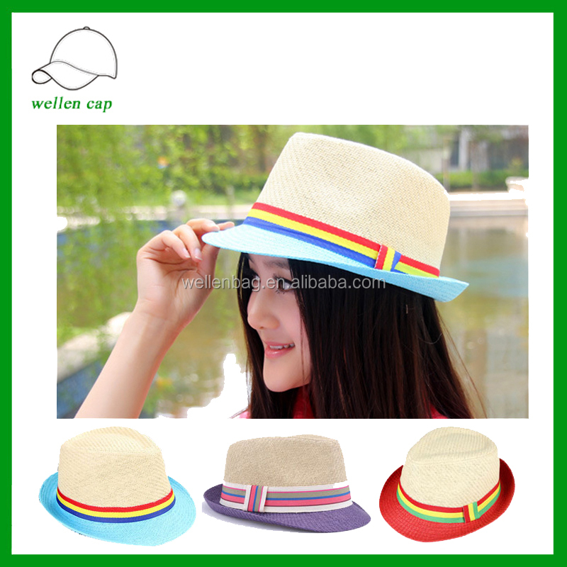 cheap wholesale straw hats with band straw boater 100% paper fedora hat