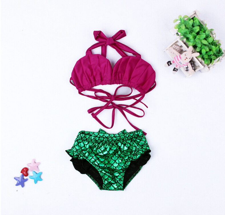 Hot Mermaid Swimsuit With Bloomer For Girl Two Pieces Girls Swimwear Cute Kids Bathing Suit