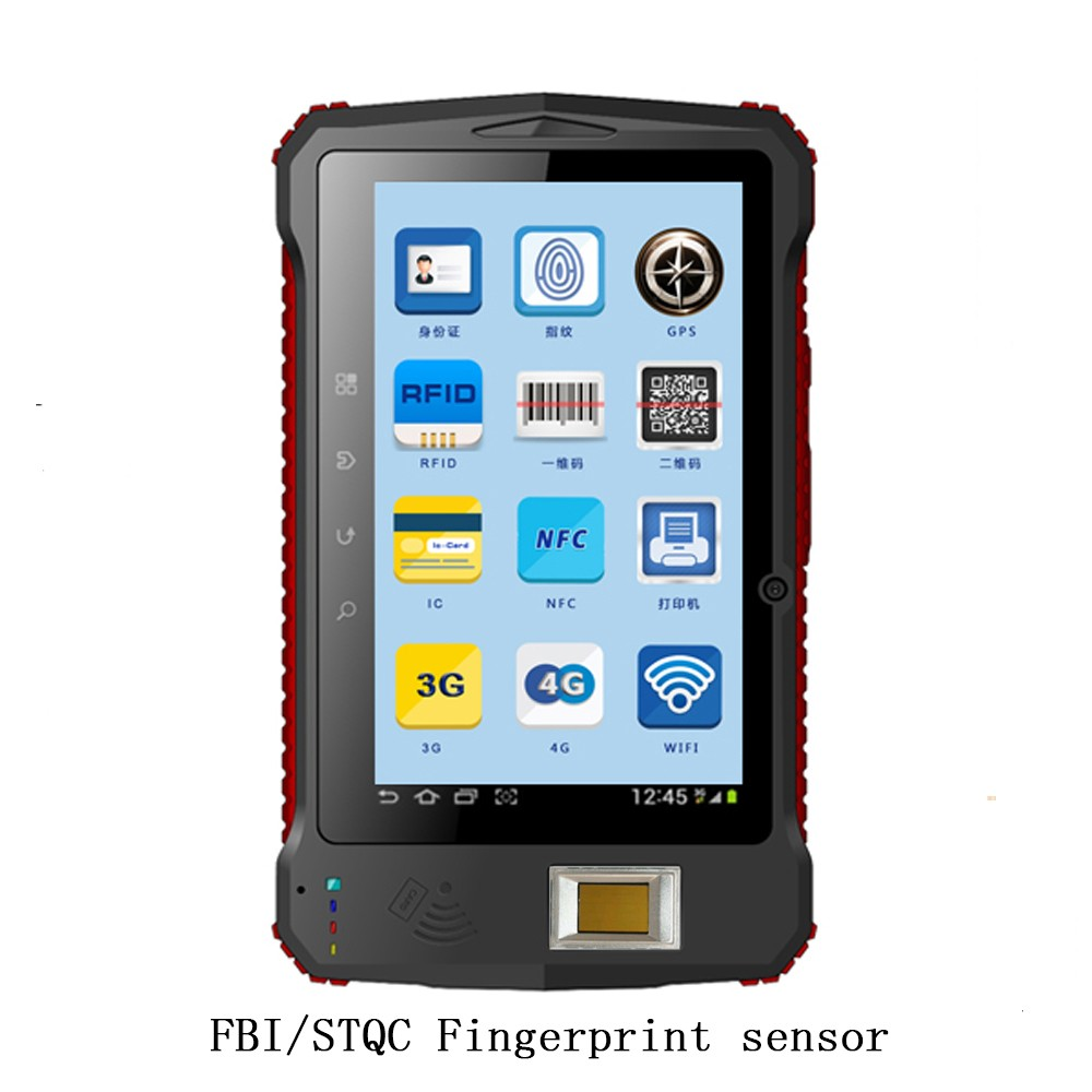 HOT Sell!Android IP65 Industrial Handheld 3G biometric fingerprint reader/Barcode Scanner/HF/UHF rfid animal ear tag
