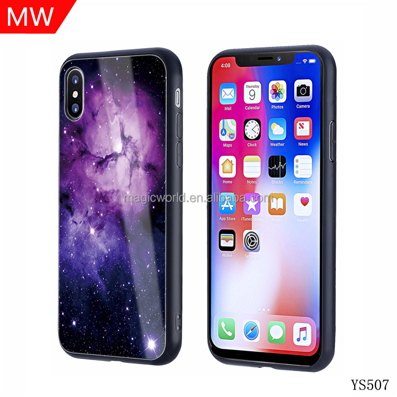 High definition printing Star pattern tempered glass back cover for iphone X phone case