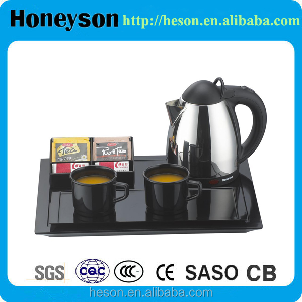 Honeyson new welcome tray with metal electric low wattage kettle
