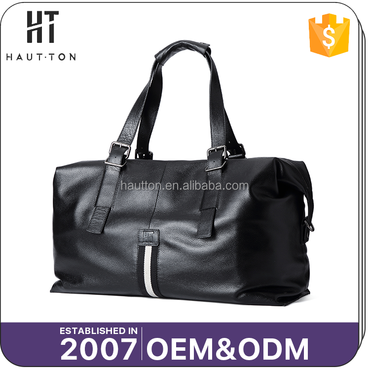 Hot Sale Professional Men Vintage Travel Bags New Style Fashion Black Genuine Cow Leather Handbag