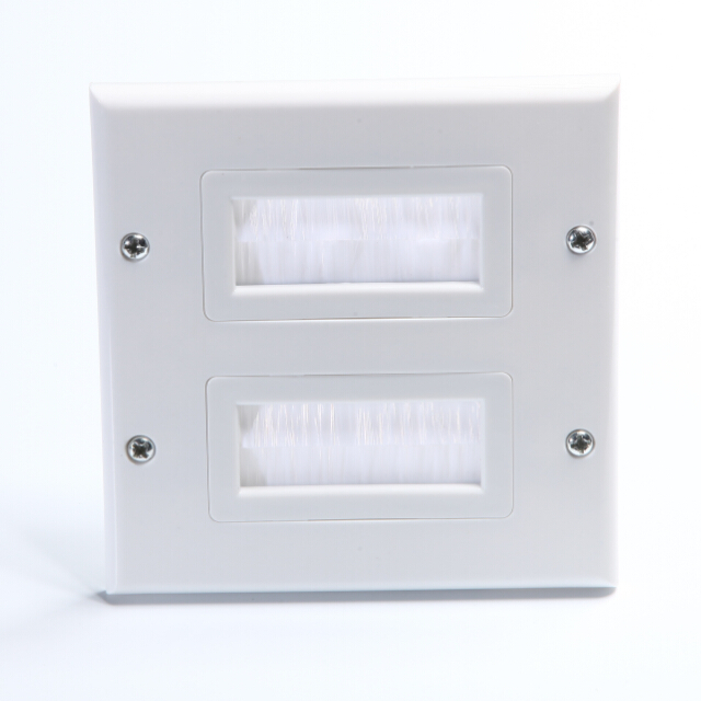 Dual Brush Wall Plate for HDTV, HDMI, Home Theater Systems and More