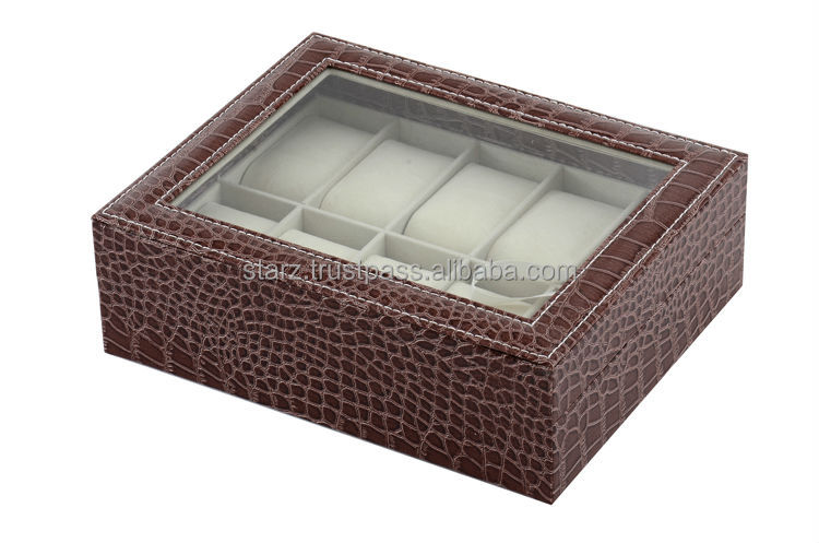 Crocodile Leather 10 Slot Watch Box with Glass Screen Display,Available in Brown and Black