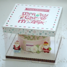 Wholesale decorative Christmas clear plastic square cake box