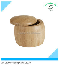 Bamboo Round box Salt spice or pepper box