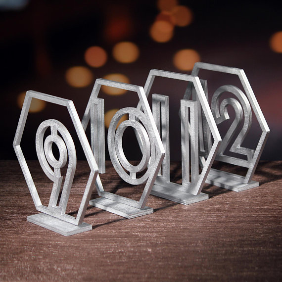 Wedding Hexagon Silver Geometric Table Numbers stand wedding