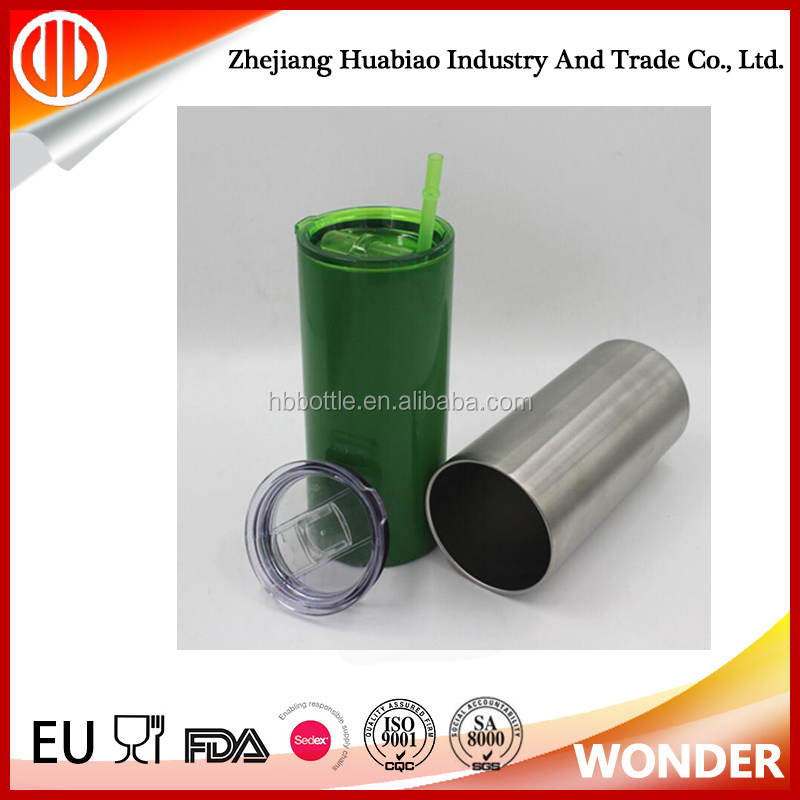 Vacuum Double Wall Stainless Steel Skinny Tumbler With Straw