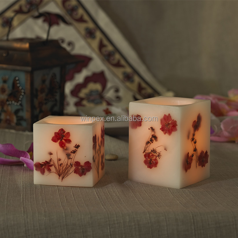 Fragrant Spring Style Vanilla-scented Mini Squared Wax Candles,Amber Flickering Flameless LED Dried Flower Embedded Candles