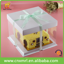 Birthday cake clear pvc window box with ribbon,decorative cake box wholesale