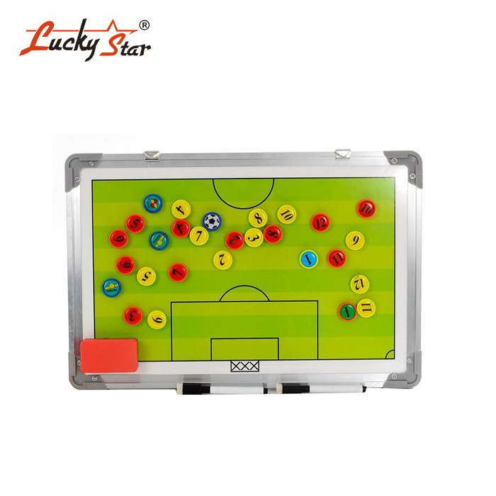 Waterproof Aluminum Magnetic Football Soccer Coaching Tacticial Strategy Board with Hanging Hook and Erasable Marker Pen
