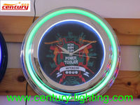 neon wall clock with customized logo