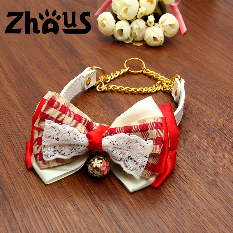 Wholesale Fashin Bowtie Pinch PU Leather Hemp Dog Collar With Bling Flashy Bell