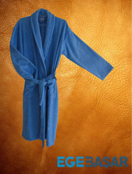 Men cotton cheap terry shawl collar blue bathrobe