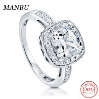 925 Sterling Silver Cushion CZ Halo engagement Ring jewelry R501