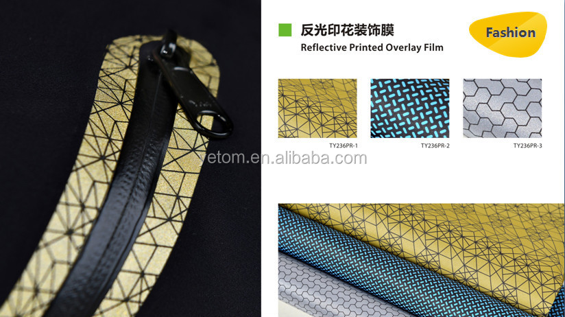 Reflective pattern devorative overlay film for garment bonding and seamless pocket