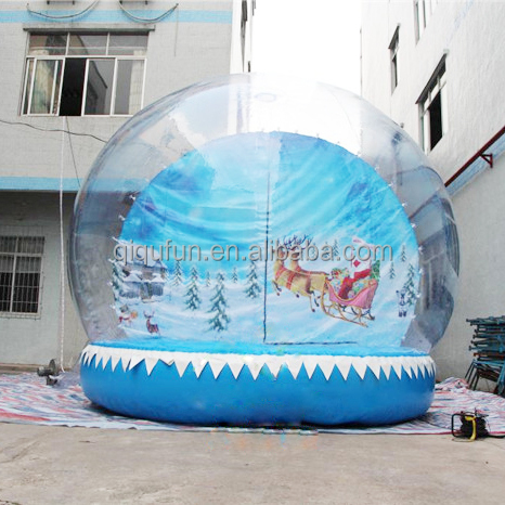 Outdoor Christmas decoration tent 2m to 8m clear air blown human photo inflatable human size snow globe for sale