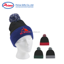 Imprinted Multi Color Custom Beanie Hat with Pom