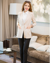 2015 New Arrival Hot Sale Chic Ladies Career Apparel Long-Sleeve One Button Lapel Chiffon Sexy Leopard Women Leisure Suits