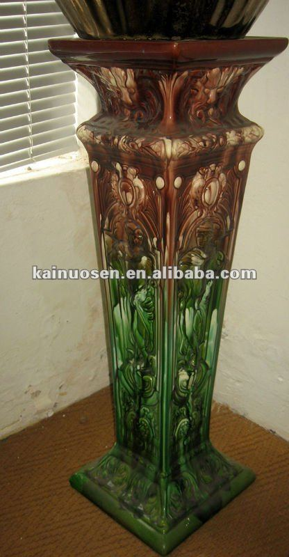 Handpainted ceramic plant stand , ceramic flower pot